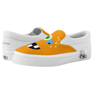 Unique Funny Crazy Oragne Monster Slip On Shoes