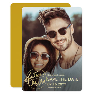 Unique Future Mr and Mrs Photo Save the Date Card