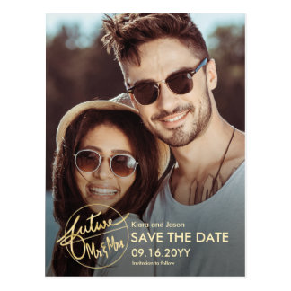 Unique Future Mr and Mrs Photo Save the Date Postcard