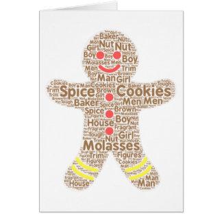 Unique gingerbread word art card