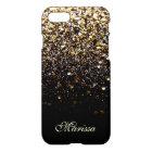 Unique Gold Glitter Black Stylish Modern iPhone 8/7 Case