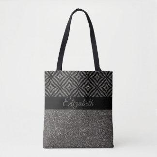 Unique Gray Glitter Black Pattern Pesonalized Tote Bag