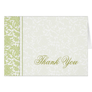 Unique Green Damask Thank You Cards
