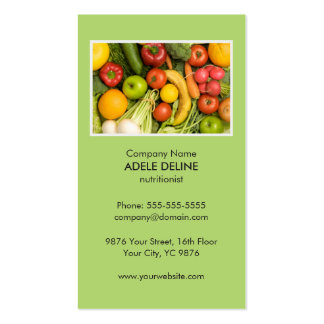 Unique Green Nutritionist Diet Health Pack Of Standard Business Cards