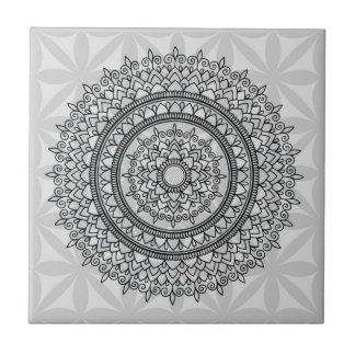 Unique Grey Floral Hand Drawn Mandala Pattern Small Square Tile