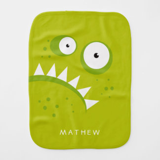 Unique Grumpy Angry Funny Scary Green Monster Burp Cloth