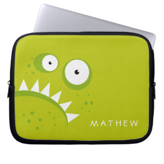 Unique Grumpy Angry Funny Scary Green Monster Laptop Sleeve