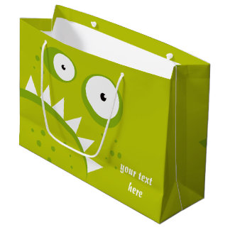 Unique Grumpy Angry Funny Scary Green Monster Large Gift Bag