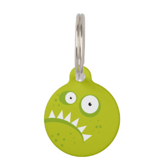 Unique Grumpy Angry Funny Scary Green Monster Pet ID Tag