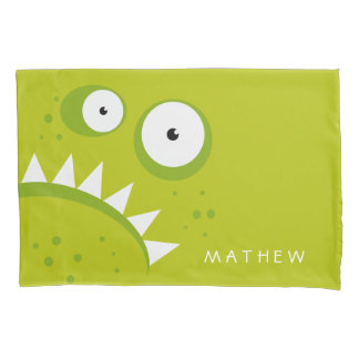 Unique Grumpy Angry Funny Scary Green Monster Pillowcase