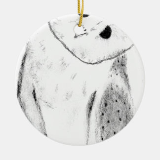 Unique Hand Drawn Barn Owl Ceramic Ornament
