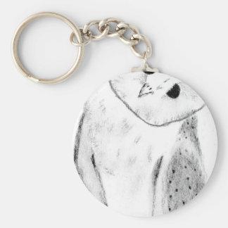 Unique Hand Drawn Barn Owl Key Ring