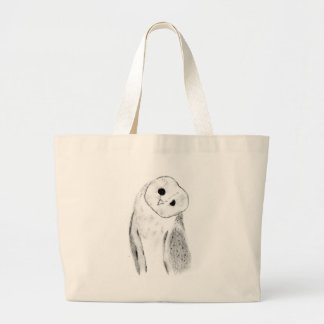 Unique Hand Drawn Barn Owl Large Tote Bag