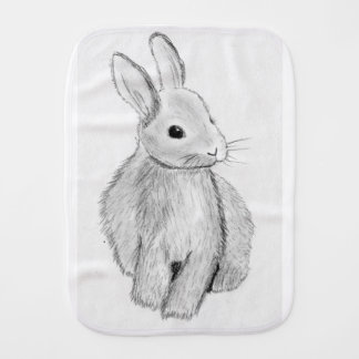 Unique Hand Drawn Bunny Burp Cloth