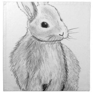 Unique Hand Drawn Bunny Napkin