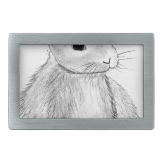 Unique Hand Drawn Bunny Rectangular Belt Buckles