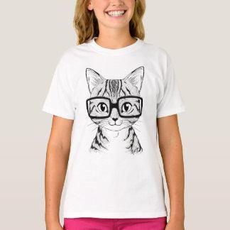 Unique Hand Drawn Nerdy Cat Girl's White T-shirt
