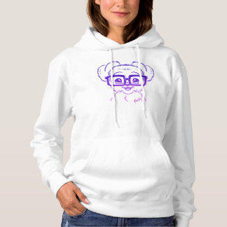 Unique Hand Drawn Nerdy Dog Women's White Hoodie