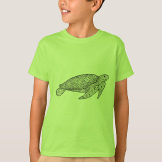 Unique Hand Illustrated Artsy Floral Sea Turtle T-Shirt