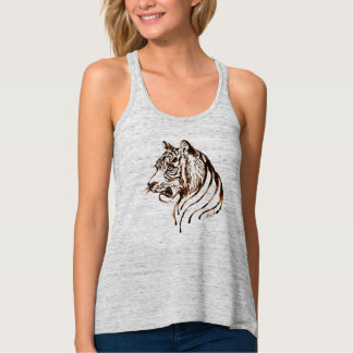 Unique Hand Painted Chocolate Tiger Art Flowy Tank