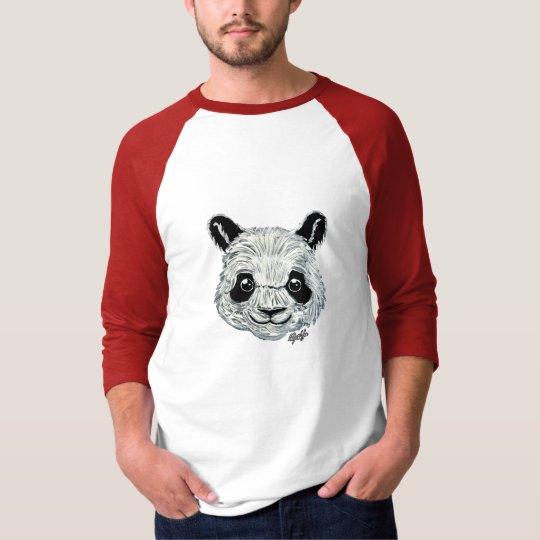 Unique Hand Painted Panda Art Men's Baseball Shirt