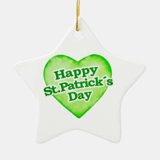 Unique Happy St. Patrick´s Day Design Ceramic Star Decoration