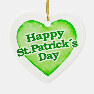 Unique Happy St. Patrick´s Day Design Double-Sided Heart Ceramic Christmas Ornament
