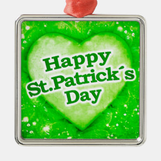 Unique Happy St Patrick´s Day Design Silver-Colored Square Decoration