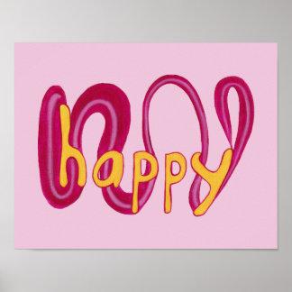 Unique Happy Word Positive Affirmation Posters