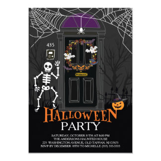 Unique Haunted House Halloween Party Card