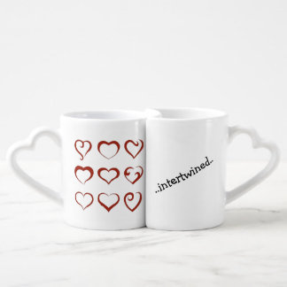 Unique hearts design forever intertwined coffee mug set