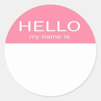 Unique Hello My Name Is - Baby Pink Round Sticker