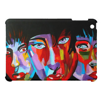 Unique japanese abstract faces case for the iPad mini