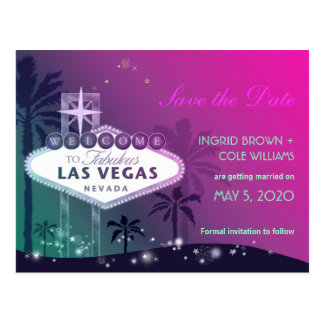 Unique Las Vegas Strip Wedding Save the Date Postcard