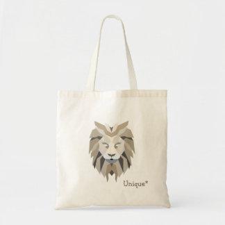 Unique lion polygonal ethnic tribal design tote bag