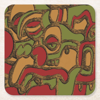 Unique Mayan Hieroglyphs Design Square Paper Coaster
