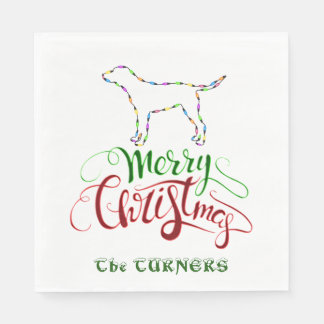 Unique Merry Christmas Light Bulbs Dog Monogram Disposable Serviettes