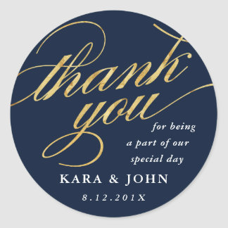 Unique Modern Navy & Gold Script Thank You Favor Classic Round Sticker
