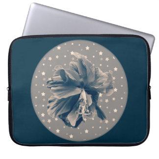 Unique monochrome blue hibiscus on stars laptop computer sleeve