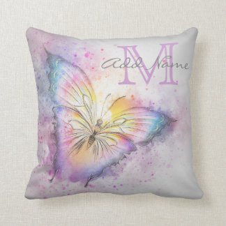 Unique Monogram Colorful Butterfly Watercolor Girl Cushion