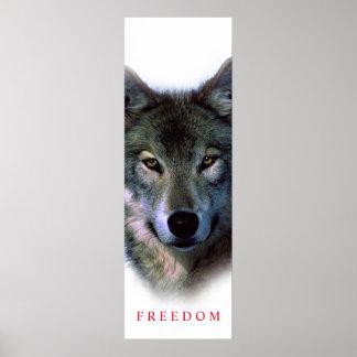 Unique Motivational Freedom Wolf Door Poster