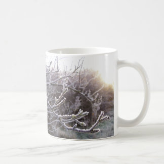 Unique mug with frosty branches design