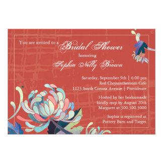 Unique Mum Grunge Red Bridal Shower Invitations
