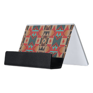 Unique Native American Indian Tribe Mosaic Pattern Desk Business Card Holder