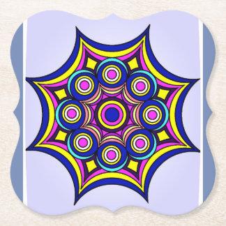 Unique Neon Geometric Design Paper Coaster