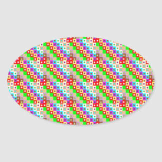 UNIQUE Original HAPPY Patterns Oval Stickers