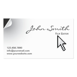 Unique Page Curl Film Editor Business Card