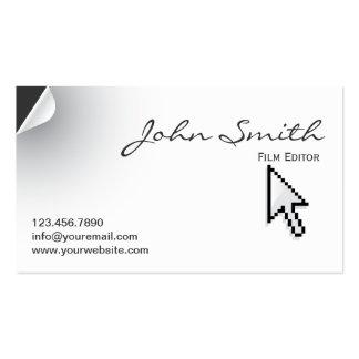 Unique Page Curl Film Editor Business Card