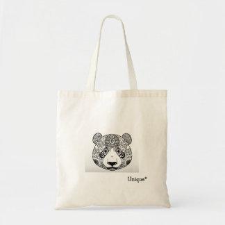 Unique panda monochrome ethnic design, tribal tote bag