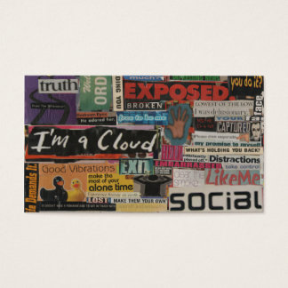 unique paper collage from magazine clippings business card